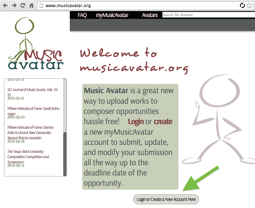 1. Go to http://MusicAvatar.og and click to log in or create account